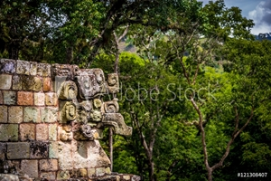 Picture of Carved detail at Mayan Ruins - Copan Archaeological Site, Honduras
