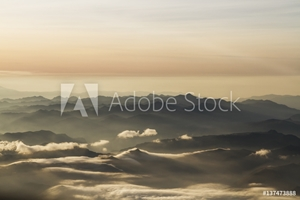 Picture of Aerial view of the Andes Mountains at dawn, Ecuador