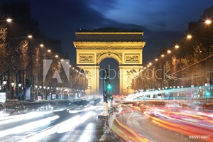 Picture of Arc De Triomphe and light trails, Paris