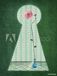 Picture of Background for postcards and illustrations with keyhole and rose in blue bottle