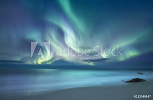 Picture of Northen light above ocean. Beautiful natural landscape in the Norway