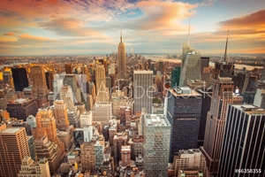 Picture of Sunset view of New York City looking over midtown Manhattan